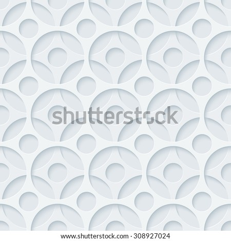 Light gray perforated paper with cut out effect. Abstract 3d seamless background. Vector EPS10. - stock vector