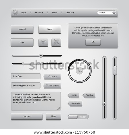 Light Gray UI Controls Web Elements 2: Buttons, Comments, Sliders, Message Box, Preloader, Loader, Tag Labels, Unlock - stock vector