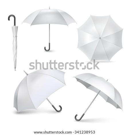 Light gray umbrellas  and parasols in various positions  open and folded pictograms collection realistic  isolated vector illustration - stock vector
