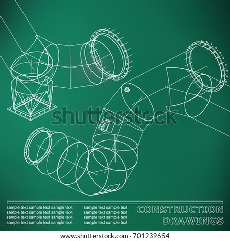 Blue drawings steel structures pipes pipe vectores en stock light green background drawings of steel structures pipes and pipe 3d blueprint of malvernweather Choice Image