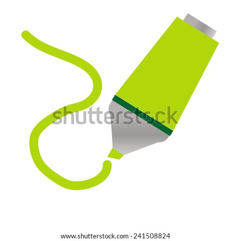 Light green colored highlighter with hand drawn markings - stock vector