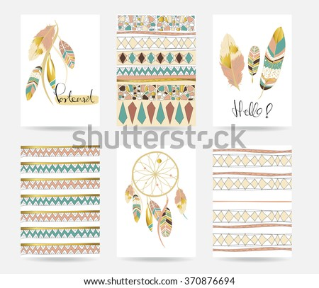 Light green gold pink card template in boho style on valentine's day - stock vector