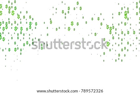 light green vector template with us currency shining colored illustration with dollar signs usd