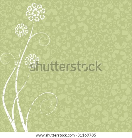 Light grungy Recycling-flower concept. can be used without the grunge layer (vector);  a JPG version is also available - stock vector