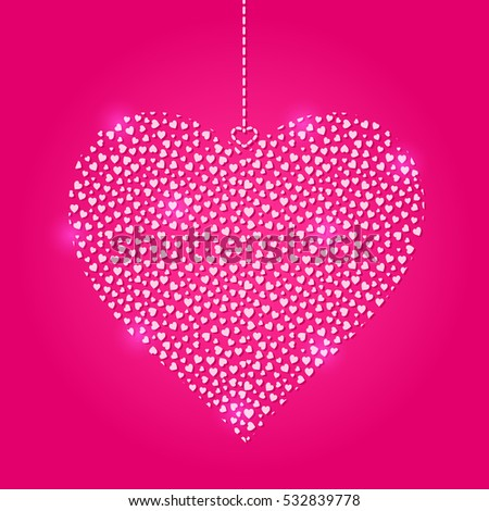 Light Heart Hanged on Red Backdrop. Valentine Card