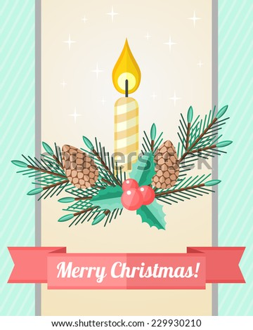 Light holiday Christmas card with composition of candle and fir twigs with cones - stock vector