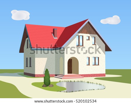 Light house with red roof, attic and a small pond in front of him.Vector illustration.