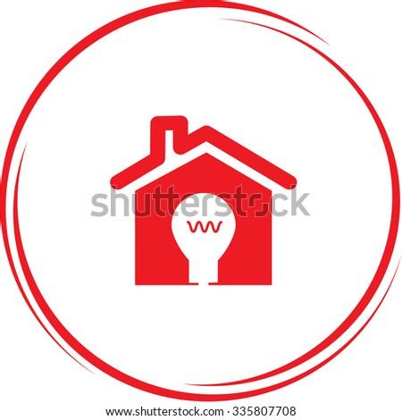 light in home. Internet button. Vector icon. - stock vector