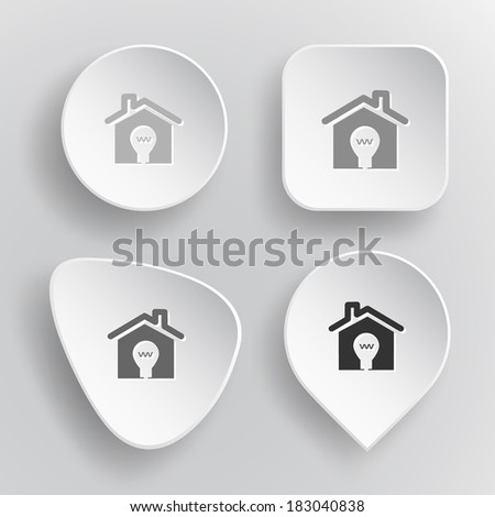 Light in home. White flat vector buttons on gray background. - stock vector