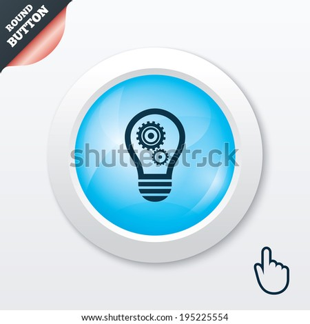 vector square blue icon lighting bulb. light lamp sign icon bulb with gears and cogs symbol idea blue vector square lighting