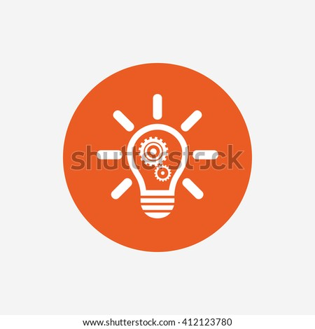 Light lamp sign icon. Bulb with gears and cogs symbol. Idea symbol. Orange circle button with icon. Vector - stock vector