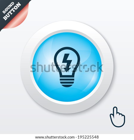 Light lamp sign icon. Bulb with lightning symbol. Idea symbol. Blue shiny button. Modern UI website button with hand cursor pointer. Vector - stock vector