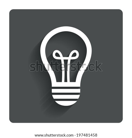 Light lamp sign icon. Idea symbol. Gray flat button with shadow. Modern UI website navigation. Vector - stock vector