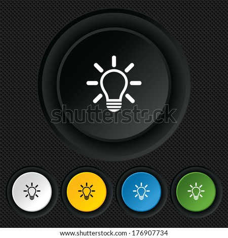 Light lamp sign icon. Idea symbol. Light is on. Round colourful buttons on black texture. Vector - stock vector