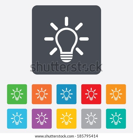 Light lamp sign icon. Idea symbol. Light is on. Rounded squares 11 buttons. Vector - stock vector