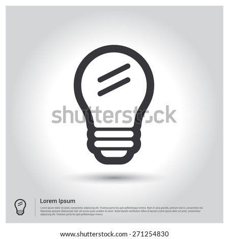 Light lamp sign icon. Idea symbol, pictogram icon on gray background. Vector illustration for web site, mobile application. Simple flat metro design style. Outline Icon. Flat design style - stock vector