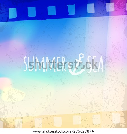 Light leak lomography bokeh sky sea background film frame passage - stock vector
