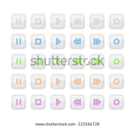 Light Media Stop and Play Buttons with Neon Icons - stock vector