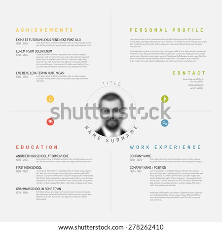 light minimalist cv resume template design creative modern version with profile photo