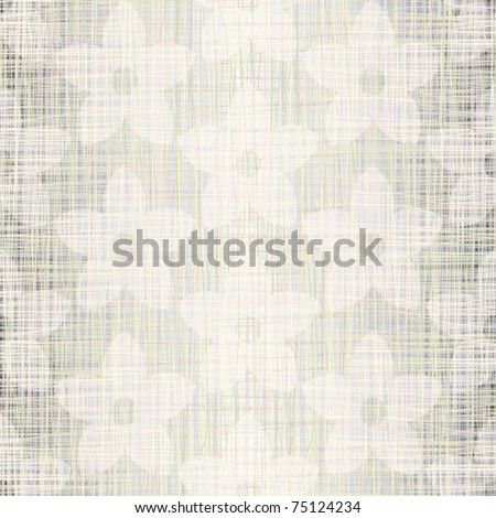 Light natural fabric with drawing flowers - stock vector