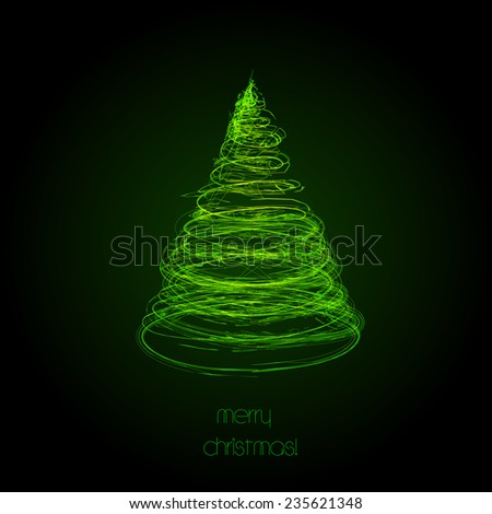 Light neon abstract christmas tree, easy all editable - stock vector