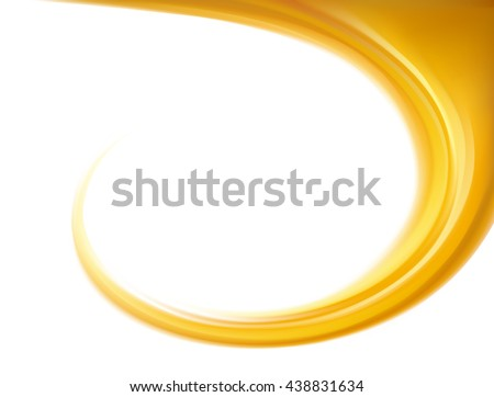 Light ocher whirl backdrop with space for text. Curl fluid surface bright hot amber color. Circle eddy mix of sweet apricot, lemon dessert syrup caramel  - stock vector