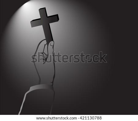 light of God in the dark , hand holding Cross of Christianity vector - stock vector