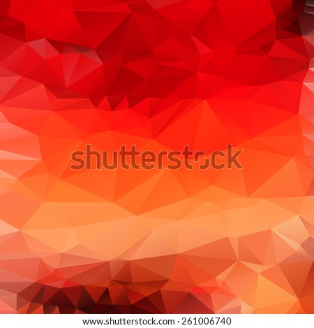 Light orange red abstract polygonal background. Vector mosaic fire pattern - stock vector