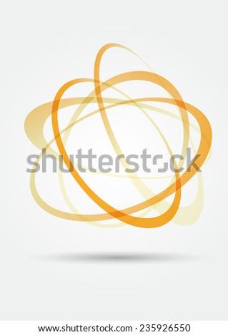 light orange yellow swirly swing circles background. vector illustration - stock vector