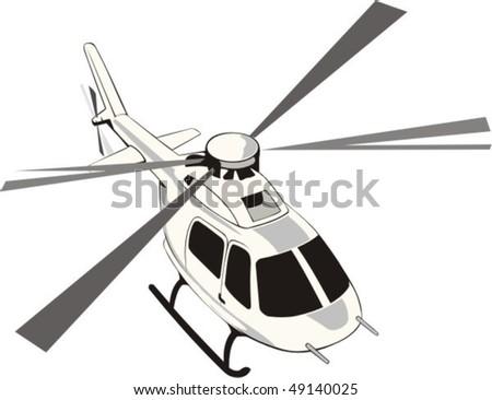light passenger helicopter in flight - stock vector