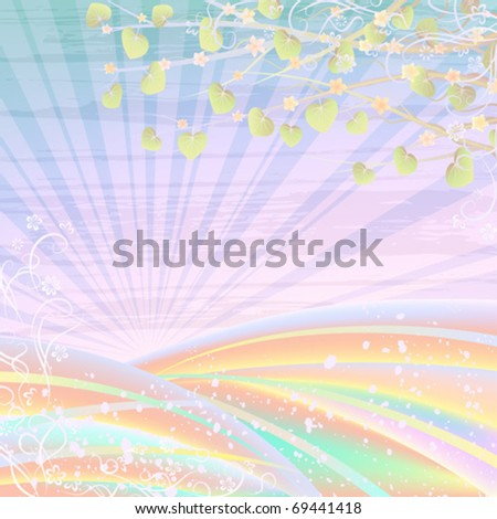 Light pastel rolling landscape with rising sun and tree branches