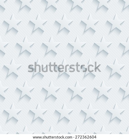 Light perforated paper with cut out effect. 3d stars seamless background. Vector EPS10. See others in My Perforated Paper Sets. - stock vector