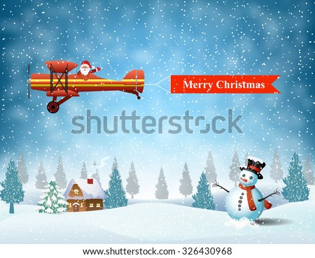 light plane with Santa claus  fly over the forest, house, snowman and pulled merry christmas banner .  Christmas card,invitation,background,design template - stock vector