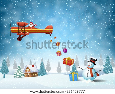 light plane with Santa claus  fly over the forest, house, snowman and throws gifts . . Christmas card,invitation,background,design template.