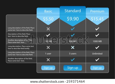 Light pricing table with 3 options and one recommended. Blue bookmarks and buttons - stock vector