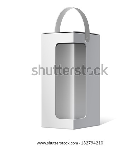 Light Realistic Package Cardboard Box with a handle and a transparent plastic window. Vector illustration - stock vector