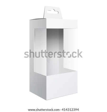 Light Realistic Package Cardboard Box with a transparent plastic window.  Template For Mockup Your Design. vector illustration. - stock vector