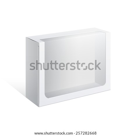 Light Realistic Package Cardboard Box with a transparent plastic window. Vector illustration - stock vector