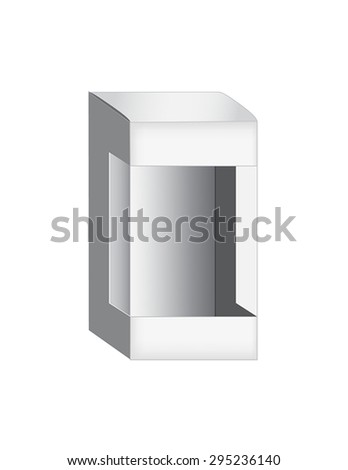 Light Realistic Package Cardboard Box with a transparent plastic window. Vector illustration.