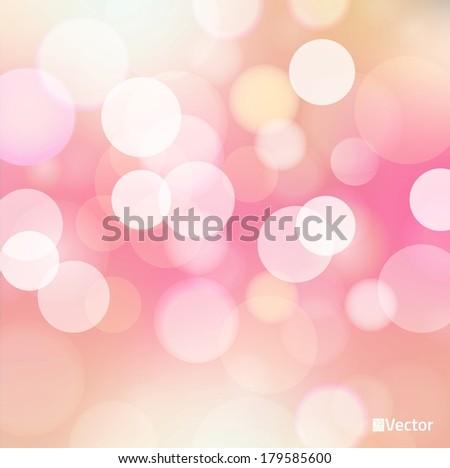 light red Vector bokeh background made from white lights - stock vector