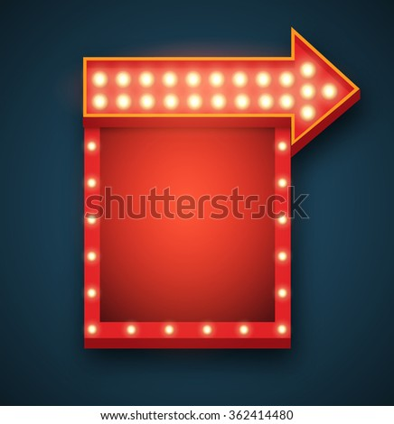 Light retro 3D sign. Square frame and arrow with light bulbs. Bright vector background with space for your text or advertisement. - stock vector