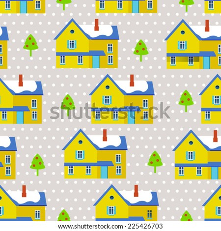 light scandinavian background with color houses