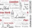 Light seamless pattern with symbols of popular cities New York, London, Paris. - stock
