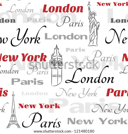 Light seamless pattern with symbols of popular cities New York, London, Paris.