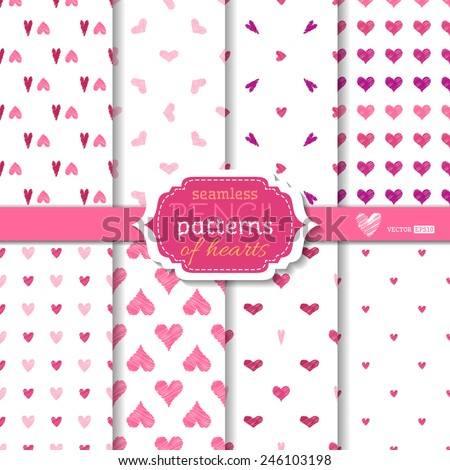 Light seamless pencil patterns of hearts. Romantic pink, violet and white backgrounds. Valentine's day design. Various hearts wallpaper. - stock vector