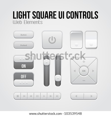 Light Square UI Controls Web Elements: Buttons, Switchers, On, Off, Player, Audio, Video: Play, Stop, Next, Pause, Volume, Equalizer, Arrows - stock vector