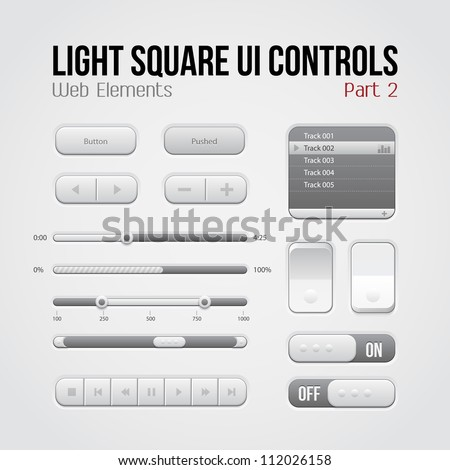 Light Square UI Controls Web Elements Part 2: Buttons, Switchers, On, Off, Player, Play List, Slider, Audio, Video: Play, Stop, Next, Pause, Volume, Equalizer, Arrows - stock vector