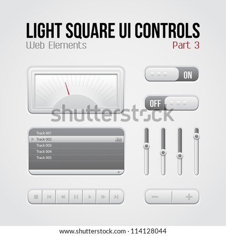 Light Square UI Controls Web Elements Part 3: Buttons, Switchers, On, Off, Player, Play List, Slider, Audio, Video: Play, Stop, Next, Pause, Volume, Equalizer, Speed Indicator, Speedometer - stock vector