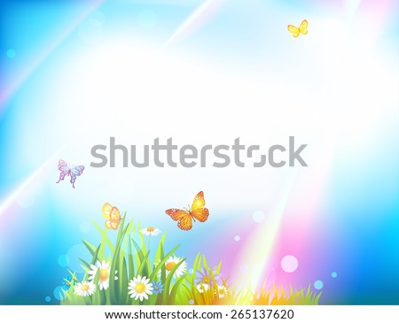 Light summer background with butterflies, flowers, green grass and sunbeams - stock vector