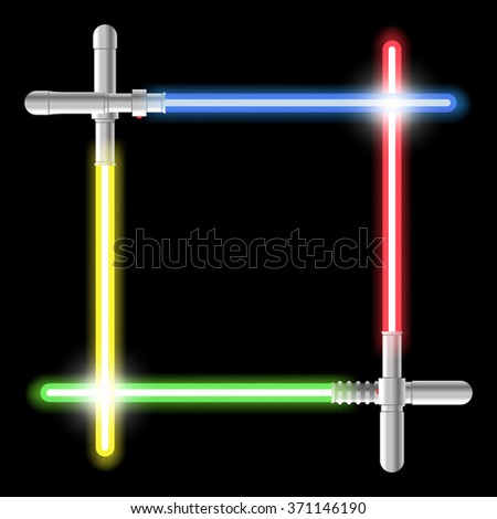 Light swords. Weapon futuristic from star war, shiny fight, color swords, black background. Vector illustration - stock vector